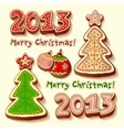 Christmas tree and chocolate honey-cakes vector image vector image