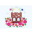 home family spring flowers birds vector image