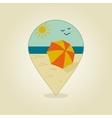 Beach Parasol pin map icon Summer Sand Sun Sea vector image