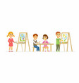 children drawing in class - cartoon people vector image