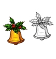 Christmas bell with holly isolated sketch icon vector image