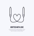 knit shop line logo yarn store flat sign vector image