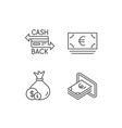 money bag cashback and atm line icons vector image