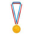 realistic gold medal with multi colored ribbon vector image