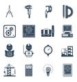 Engineer Black Icons Set vector image