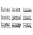 charts in thin line style Outline graphs for vector image