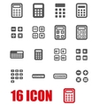 grey calculator icon set vector image