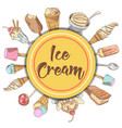 ice cream and desserts hand drawn background vector image