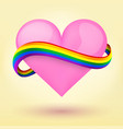 LGBT Background heart and rainbow ribbon vector image