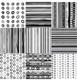 Set of black and white doodle patterns vector image