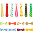 ties and bow ties set in flat cartoon style vector image