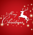 Merry Christmas and Reindeer with white star on vector image