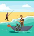 cartoon fisherman standing in hat and pulls net on vector image