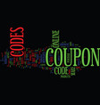 figis coupon codes text background word cloud vector image