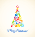 Colorful Christmas tree made of the handprints vector image