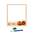 Pencil and Eraser with Two Jack O Lantern Picture vector image