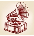 gramophone- vintage hand drawn llustration vector image