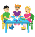 Kids Working On Table vector image