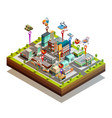 store buiding island isometric concept vector image