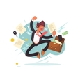Successful businessman jumping for joy vector image