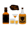 flat rum set alcohol drink glasses shots bottles vector image