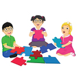 Kids Playing Puzzle vector image vector image