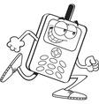 Cartoon cell phone running vector image