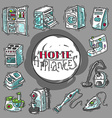 Beautiful hand drawn doodle icon set home appliahc vector image