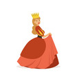 beautiful majestic queen or princess in red dress vector image