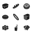 Bread set icons in black style Big collection of vector image
