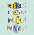 fish editable set blue and yellow vector image