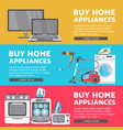 home appliance sale poster banner set vector image