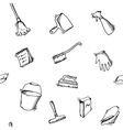 Seamless doodle pattern of house cleaning icons vector image