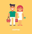 Shopping Concept Flat Style Young Couple with vector image