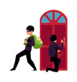 thief burglar breaking in house and walking away vector image