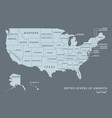 usa map with name of states vector image