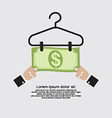 Bank Note Dry On Clothes Hanger Finance And vector image