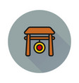 chinese gong hammer icon on round background vector image