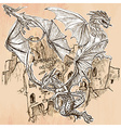 Dragons - An hand drawn Line art vector image