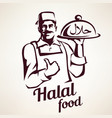 eastern chef with plate of halal food vector image