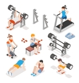 Isometric gym workout flat set Men and vector image