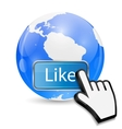 Mouse Hand Cursor on Like Button and Globe vector image