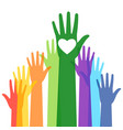 people colorful voting raised hand vector image