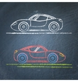 Sports car sketch on chalkboard vector image