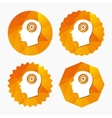 Head with gear sign icon Male human head vector image