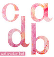pink spring watercolor font letters a b c d vector image vector image