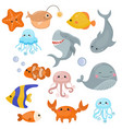 cute sea creatures cute sea creatures vector image