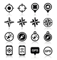 GPS navigation wind rose compass icons set vector image vector image