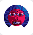 Personality face colorful made from geometri vector image