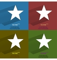 Color set star Flat modern web button with long vector image
